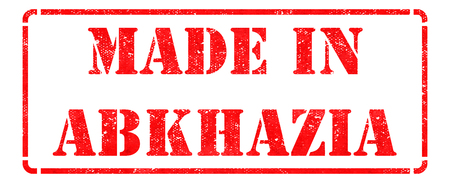 Made in Abkhazia - Inscription on Red Rubber Stamp Isolated on White. photo