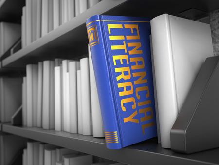 金融リテラシー - 白い物と黒い本棚の青い本。 写真素材