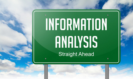 Information Analysis - Highway Signpost on Sky Background. photo