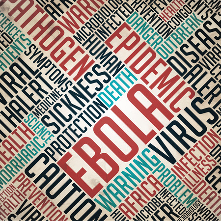 fulvous: Ebola - Epidemic Concept. Grunge Wordcloud on Old Fulvous Paper. Stock Photo