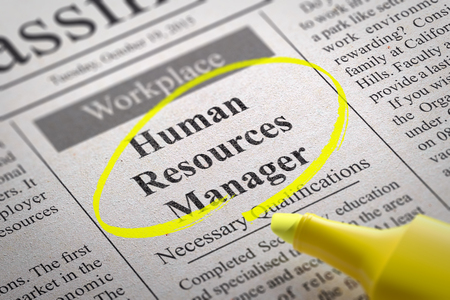 human resources manager: Human Resources Manager Vacancy in Newspaper. Job Search Concept.