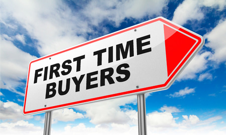 buy time: First Time Buyers - Inscription on Red Road Sign on Sky Background.