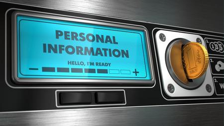 distributeur automatique: Renseignements personnels - Inscription sur Affichage du distributeur automatique. Concept.