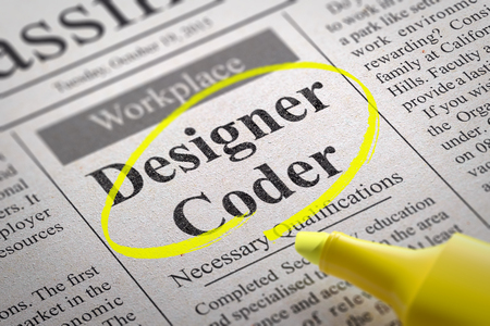 coder: Designer Coder Jobs in Newspaper. Job Search Concept.