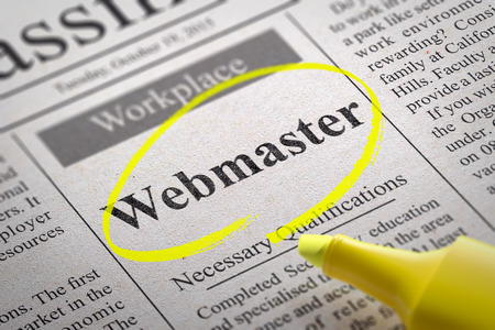 webmaster: Webmaster Vacancy in Newspaper. Job Search Concept. Stock Photo