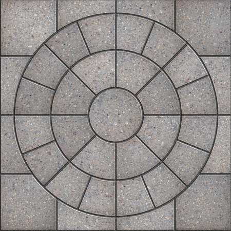 Gray Pavement  Slabs in the Form of Circle. Seamless Tileable Texture. Imagens