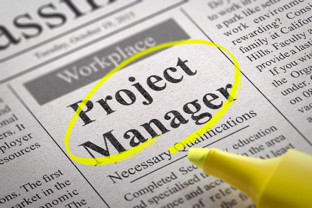 Project Manager Jobs in Newspaper. Job Search Concept. Foto de archivo