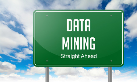 Data Mining - Highway Signpost on Sky Background. photo