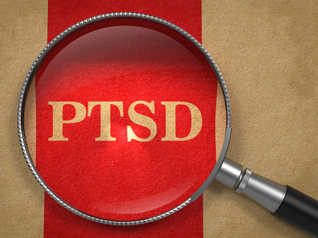 PTSD through Magnifying Glass on Old Paper with Red Vertical Line.