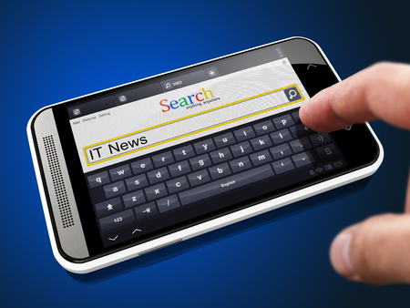 IT News in Search String - Finger Presses the Button on Modern Smartphone on Blue Background. photo
