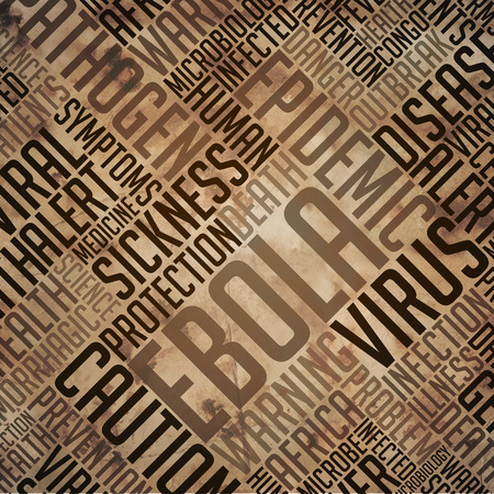 fulvous: Ebola -Virus Concept. Grunge Wordcloud on Old Fulvous Paper.