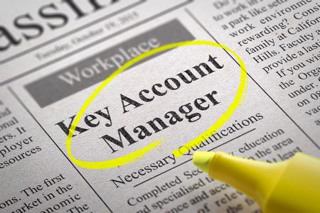vacante: Key Account Manager de vacantes en el peri�dico. B�squeda de empleo Concept. Foto de archivo