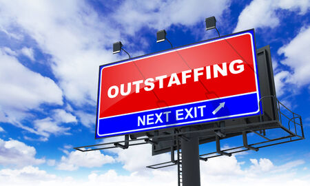 minimization: Outstaffing - Red Billboard on Sky Background. Business Concept.