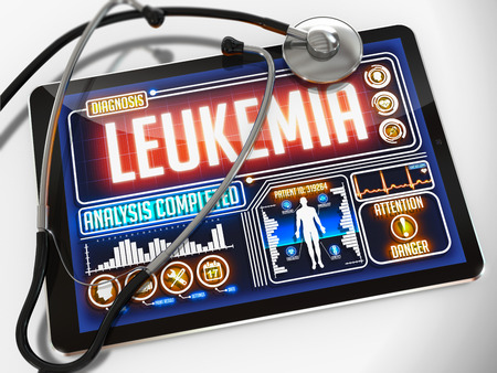 hematopoietic: Medical Tablet with the Diagnosis of Leukemia on the Display and a Black Stethoscope on White Background.
