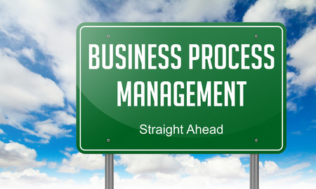 reengineering: Highway Signpost with Business Process Management wording on Sky Background. Stock Photo