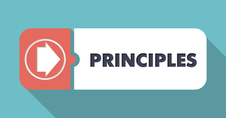 principles: Principles in Flat Design with Long Shadows on Scarlet Background.