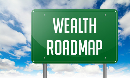 embedding: Highway Signpost with Wealth Roadmap wording on Sky Background. Stock Photo