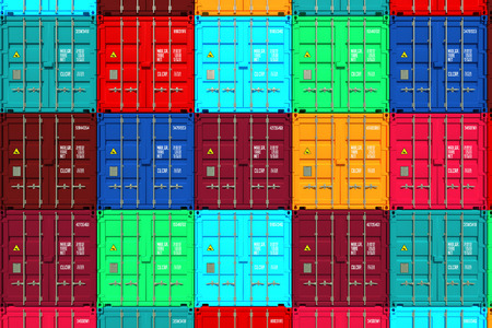 Lots of Colorful Cargo Containers. Industrial Background.