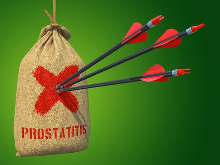 urogenital: Prostatitis - Tres flechas dieron en Red Marca de objetivo en un saco colgando sobre fondo gris.