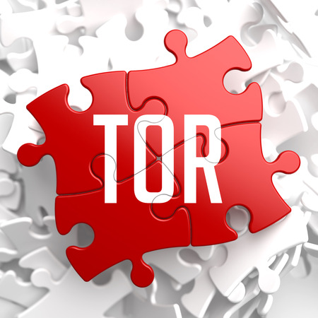 anonymity: TOR - Red Puzzle on White Background.