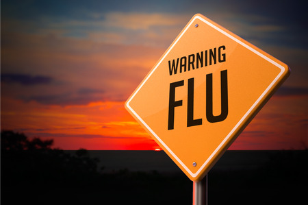 taint: Flu on Warning Road Sign on Sunset Sky Background.