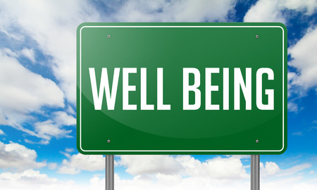 Highway Signpost with Well Being wording on Sky Background. Stock Photo