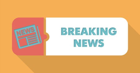 tidings: Breaking News Button in Flat Design with Long Shadows on Blue Background. Stock Photo