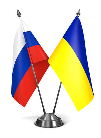 Russia and Ukraine - Miniature Flags Isolated on White Background.