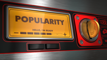 notoriety: Popularity - Inscription on Display of Vending Machine. Business Concept.