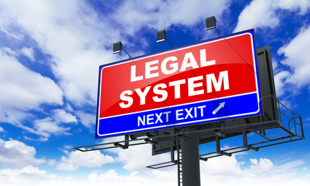lawmaking: Legal System - Red Billboard on Sky Background. Business Concept.