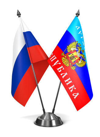 luhansk: Russia and Luhansk Peoples Republic - Miniature Flags Isolated on White Background.