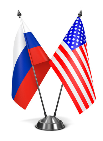 obama: Russia and USA - Miniature Flags Isolated on White Background.