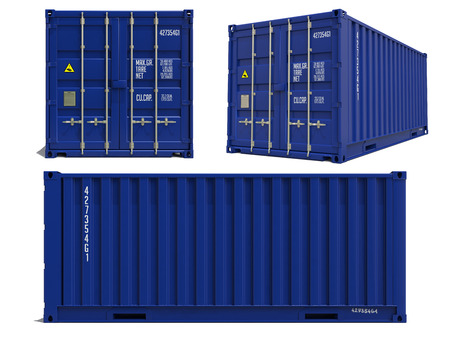 three dimensions: Blue Container in Three Dimensions Isolated on White Background.