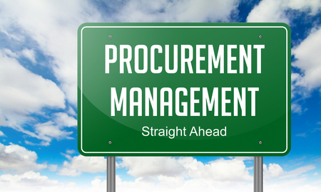 procure: Highway Signpost with Procurement Management wording on Sky Background. Stock Photo