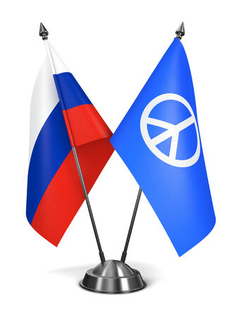 pacifism: Russia and Peace, Pacifism Sign - Miniature Flags Isolated on White Background. Stock Photo