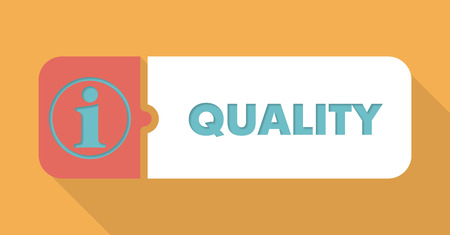 product design specification: Quality  Button in Flat Design with Long Shadows on Blue Background.
