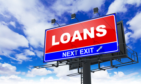 guarantor: Loans - Red Billboard on Sky Background. Business Concept.