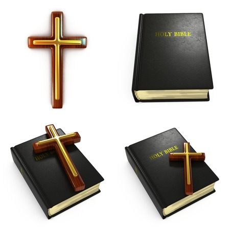 protestant: Religious Concepts - Set of 3D Bible and Cross.