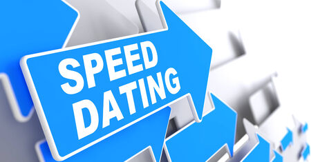 speed dating: Speed Dating on Direction Sign - Blue Arrow on a Grey Background. Stock Photo