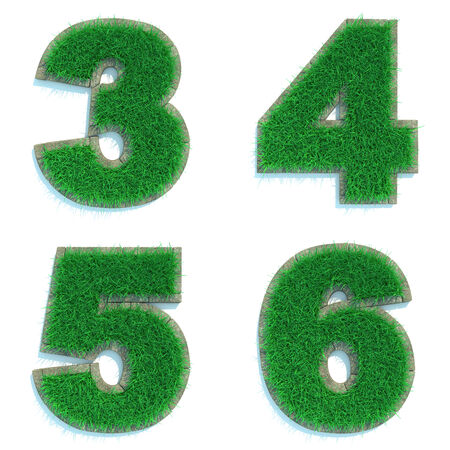 3 4: Digits 3, 4, 5, 6 - Set of Green Lawn on White Background in 3d.
