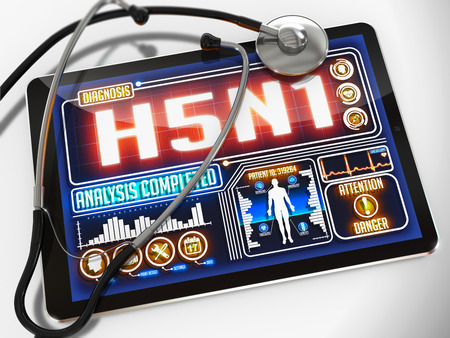h5n1: H5N1 - Diagnosis on the Display of Medical Tablet and a Black Stethoscope on White Background.
