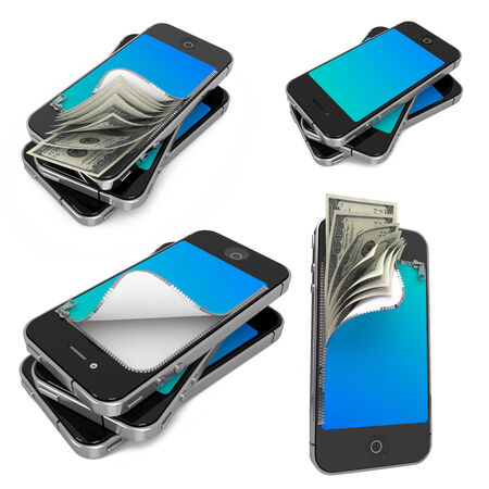 e wallet: Mobile Payments- Set of 3D Illustrations on Isolated Background.
