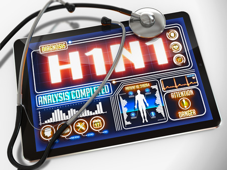 H1N1 - Diagnosis on the Display of Medical Tablet and a Black Stethoscope on White Background. photo