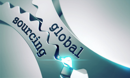 Global Sourcing auf dem Mechanismus der Metal Gears. Interaktionskonzept Lizenzfreie Bilder