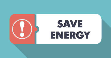 economical: Save Energy Button in Flat Design with Long Shadows on Orange Background.