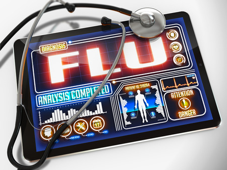 transmitting device: Flu - Diagnosis on the Display of Medical Tablet and a Black Stethoscope on White Background.