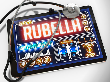rubella: Rubella - Diagnosis on the Display of Medical Tablet and a Black Stethoscope on White Background. Stock Photo