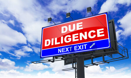 diligence: Due Diligence - Red Billboard on Sky Background. Business Concept.