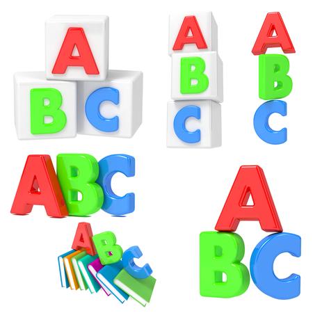 primary education: Primary Education ABC Set  Isolated on White Background. Stock Photo