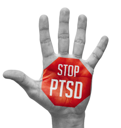 distressing: Stop PTSD Sign Painted, Open Hand Raised, Isolated on White Background. Stock Photo